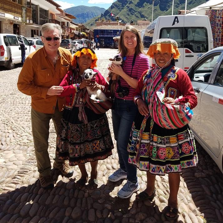 Lady street vendors in Cusco Peru