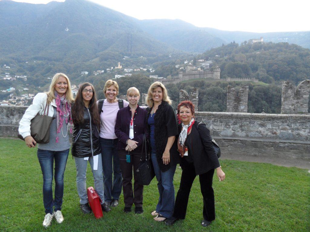 group of woman, Castelgrande, Castle in Bellinzona, Switzerland