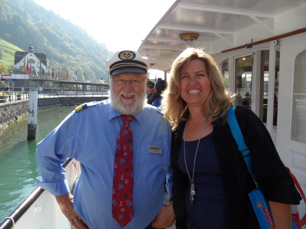 woman with captain of William Tell Express paddle wheel steamer